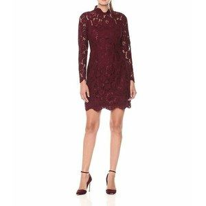 Betsey Johnson Illusion Lace Sheath Dress Wine